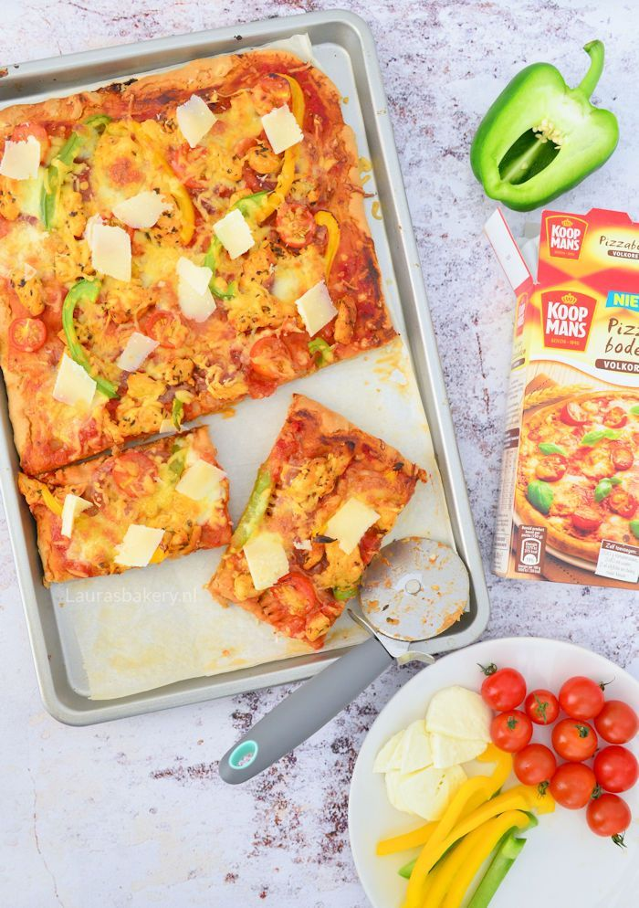 Volkoren pizza met gemarineerde kip 1a