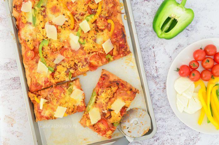 Volkoren pizza met gemarineerde kip 3a