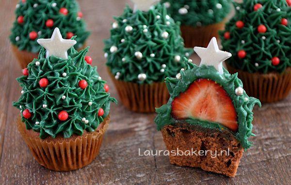 aardbei kerstboom cupcakes 2a