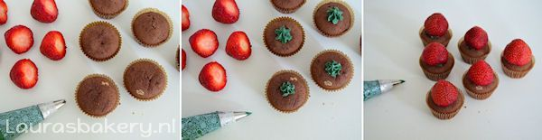 aardbei kerstboom cupcakes 3a