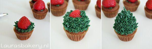 aardbei kerstboom cupcakes 4a