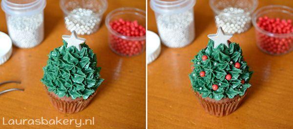 aardbei kerstboom cupcakes 5a