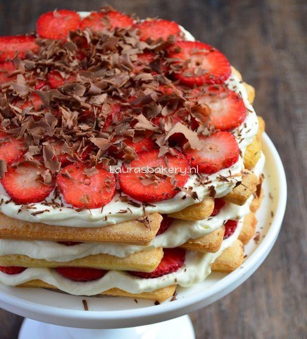 aardbeien tiramisu taart 2a