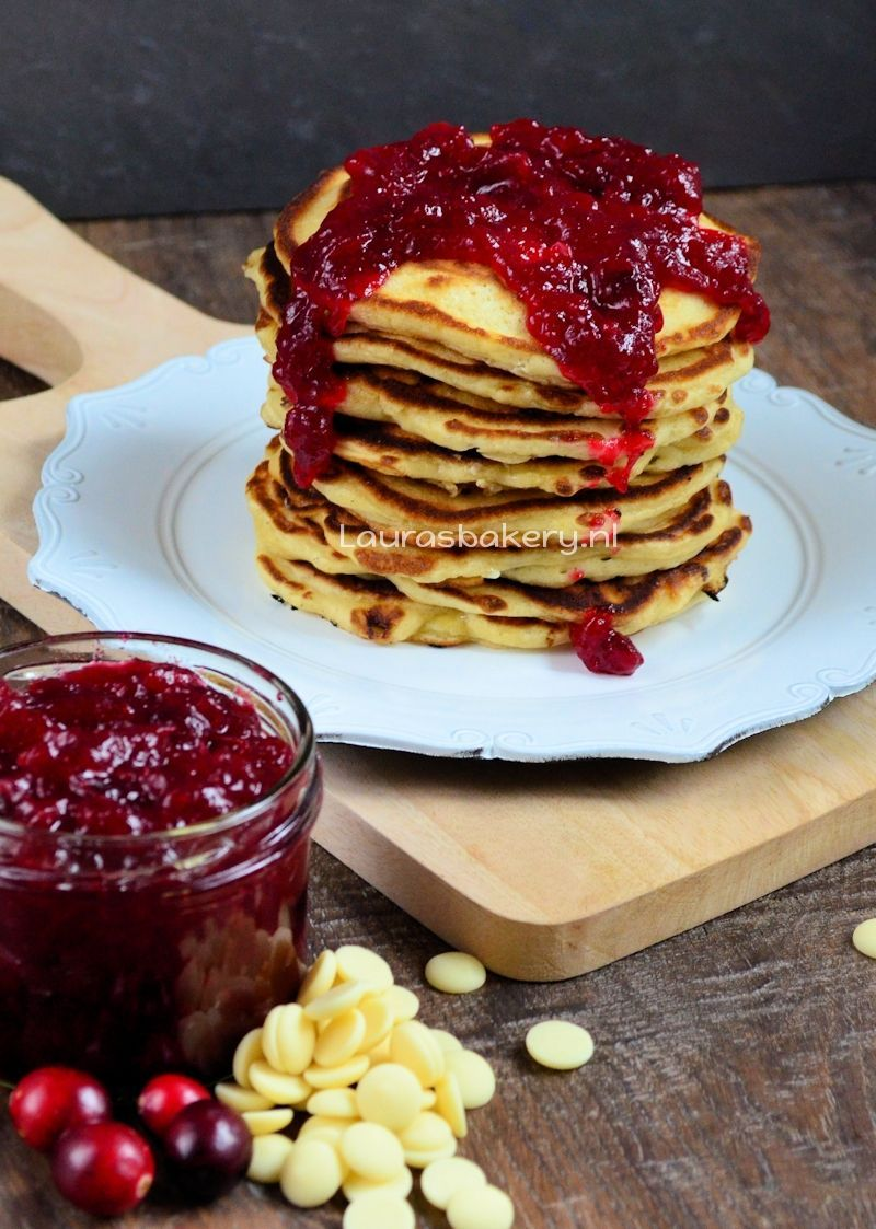 cranberry witte chocolade pancakes