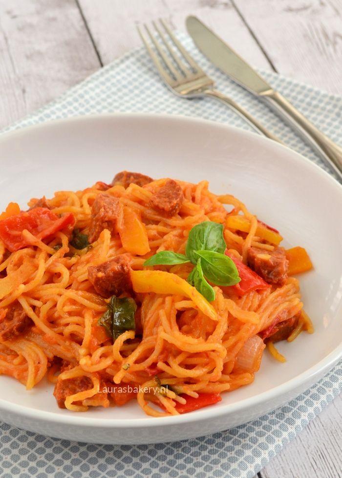 eenpans pasta met chorizo 1a