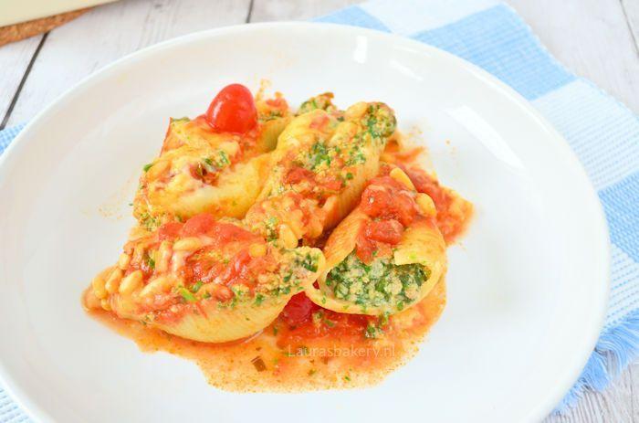 pastaschelpen met spinazie en ricotta 2a