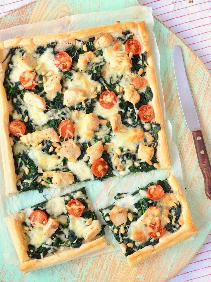plaattaart met spinazie en kip 1a
