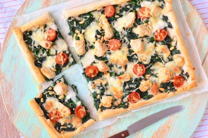 plaattaart met spinazie en kip 2a