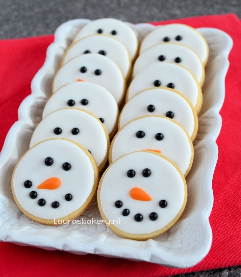 sneeuwman gezicht koekjes