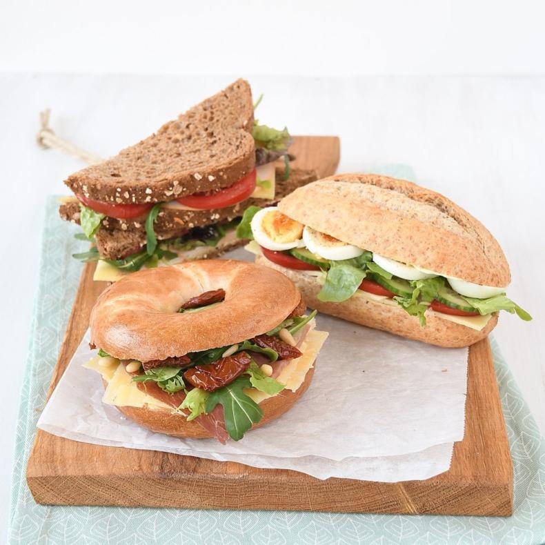 3x belegde broodjes voor de lunch