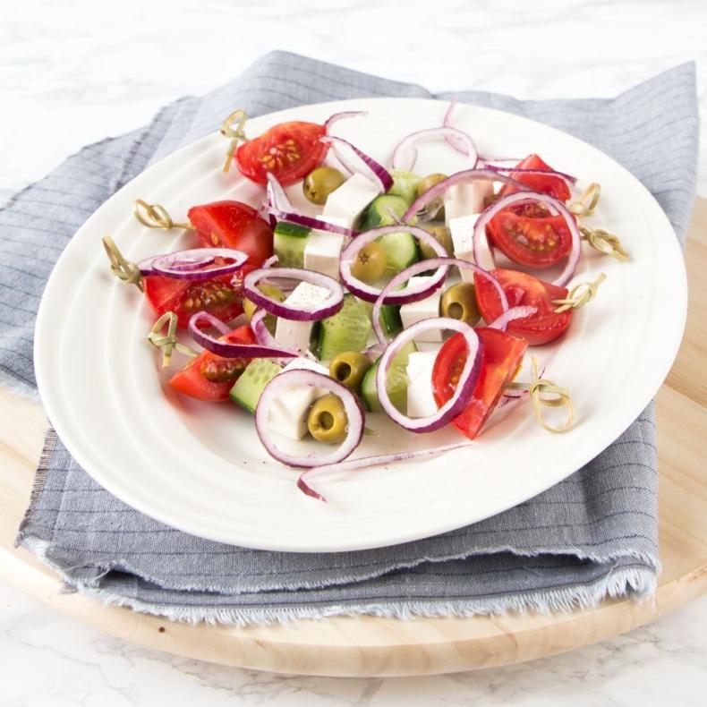 Griekse salade spiesjes