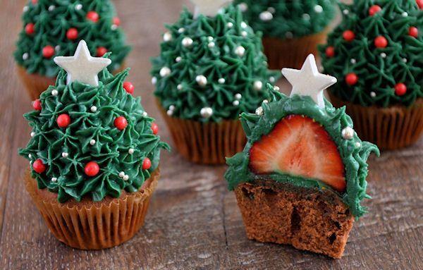Advent 24: Aardbei Kerstboom Cupcakes