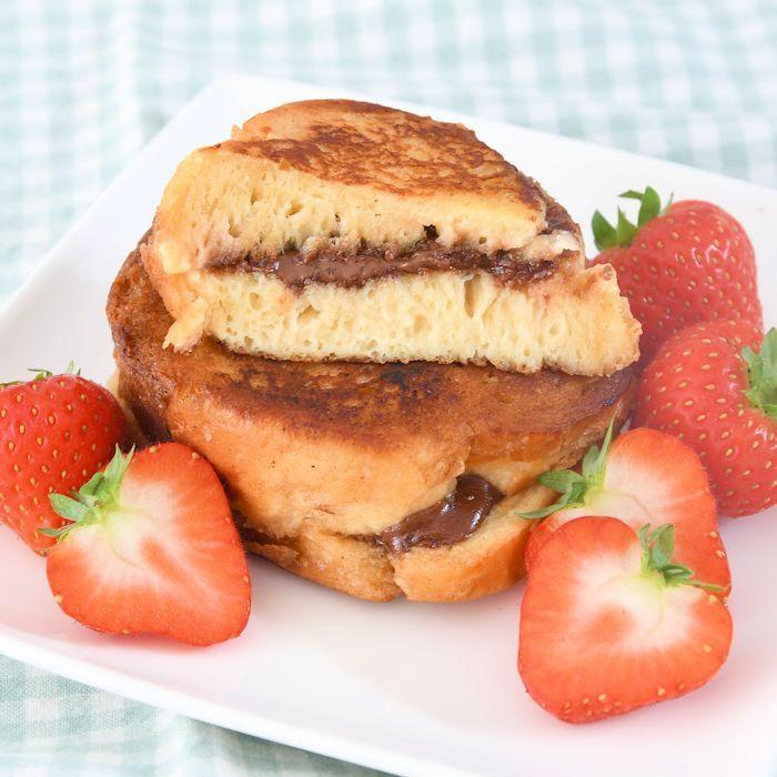 Brioche wentelteefjes met Nutella en aardbeien