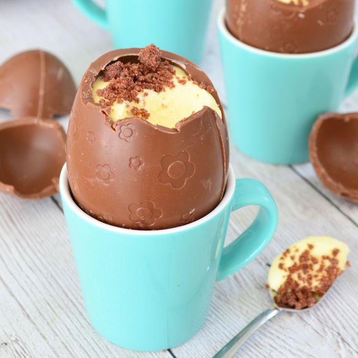 Chocolade paaseieren met kwarktaart