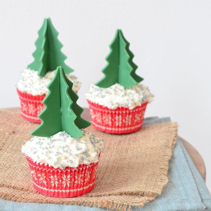 Cupcakes met 3D kerstboom