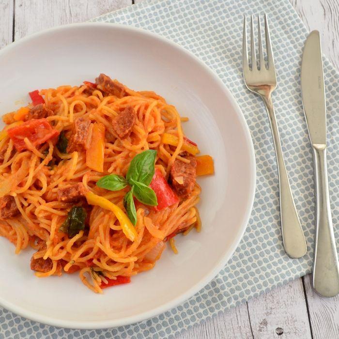 Eenpans pasta met chorizo
