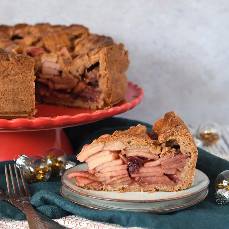 Kerst appeltaart met cranberry's