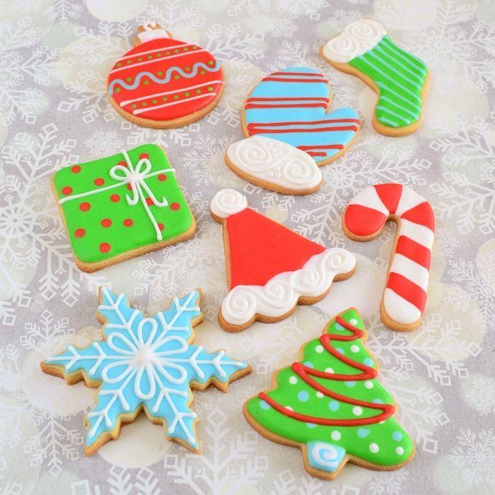 Kerstkoekjes set - 8 koekjes, 4 kleuren icing