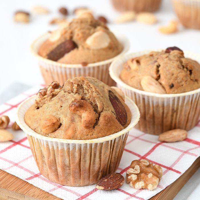 Koffie-notenmuffins + bakken met vloeibare margarine