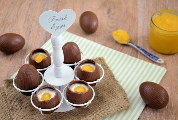 Chocolade paaseieren met kwark en lemon curd