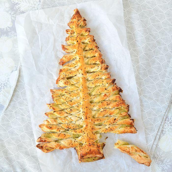 pesto-roomkaas bladerdeeg kerstboom