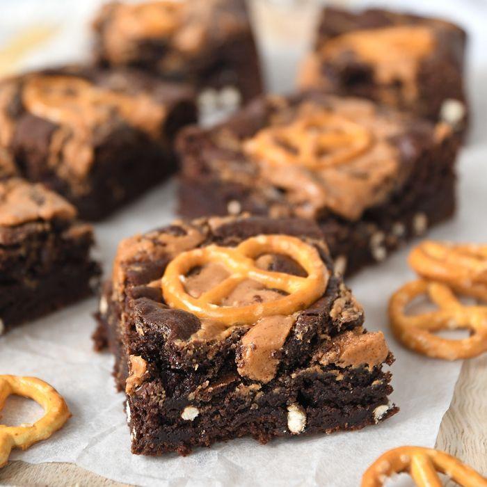 Pindakaas-pretzel brownies