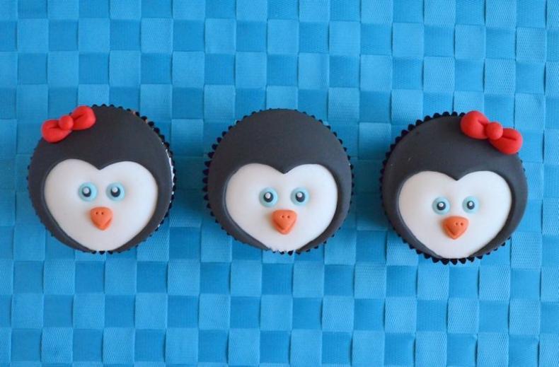 Pinguïn cupcakes