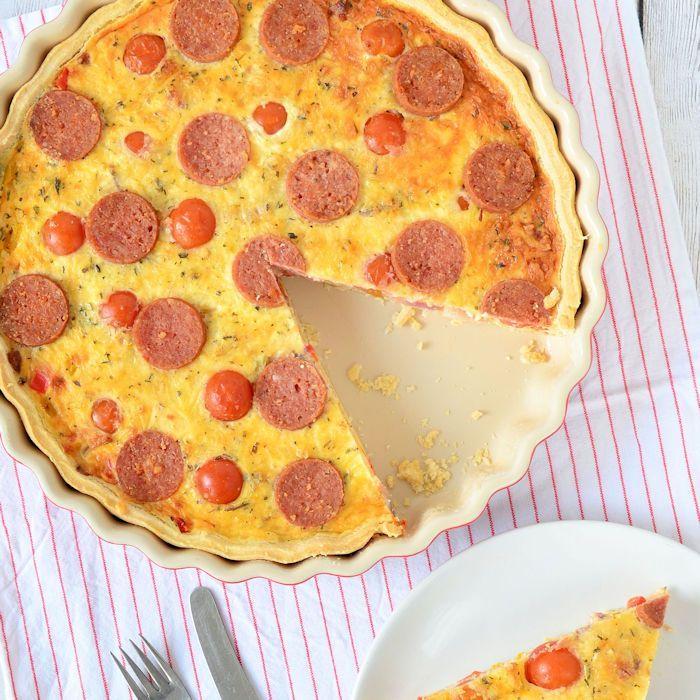 Pizza salami quiche