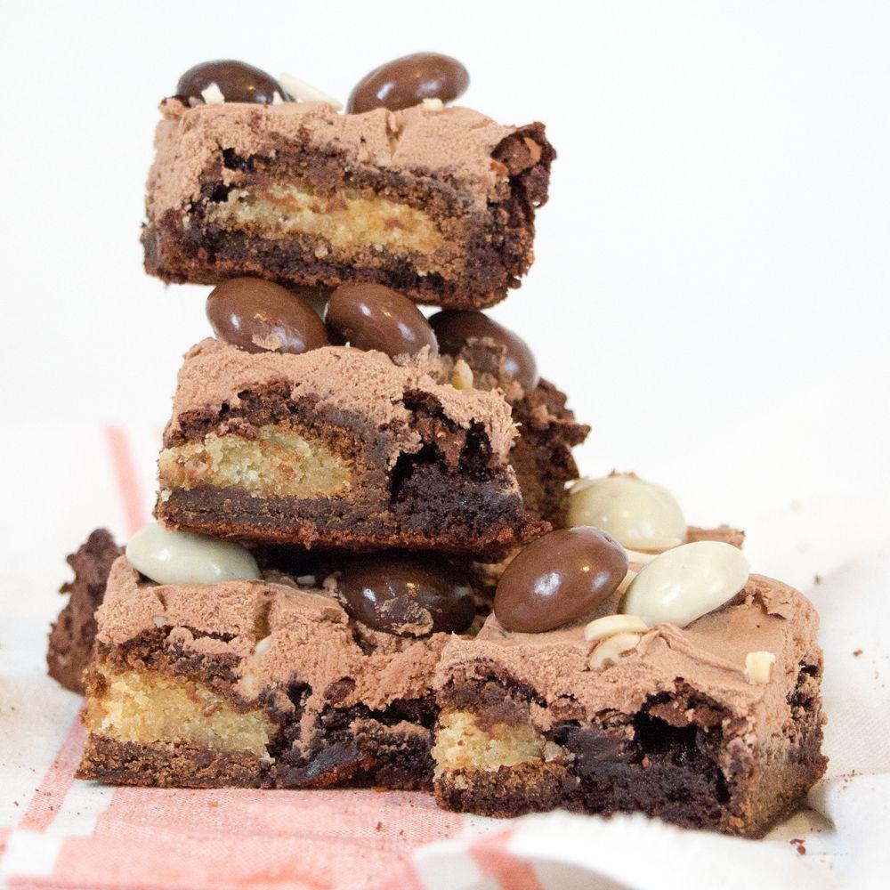 gevulde speculaas brownies gestapeld