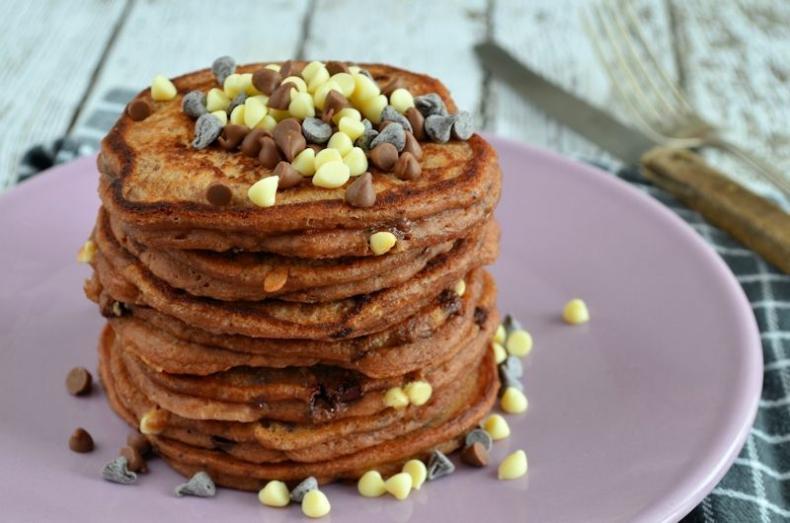 Triple chocolate chip pancakes