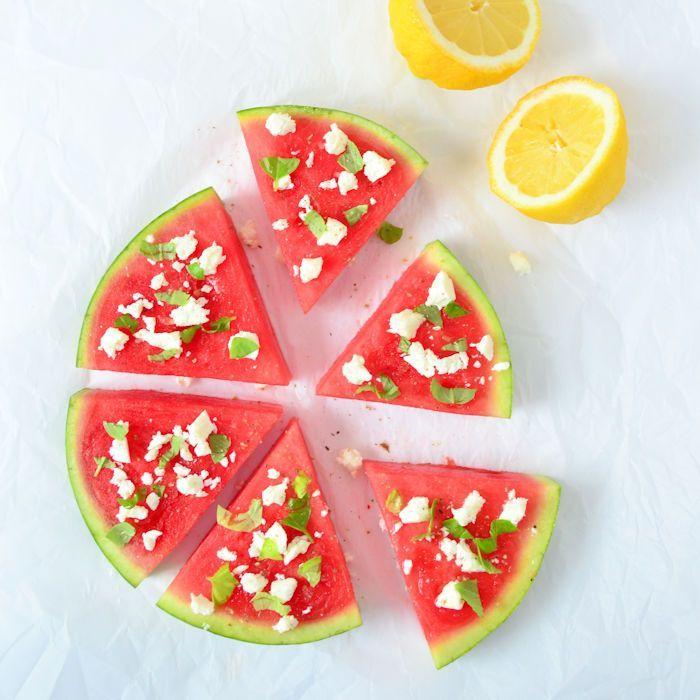 Watermeloen met feta en basilicum