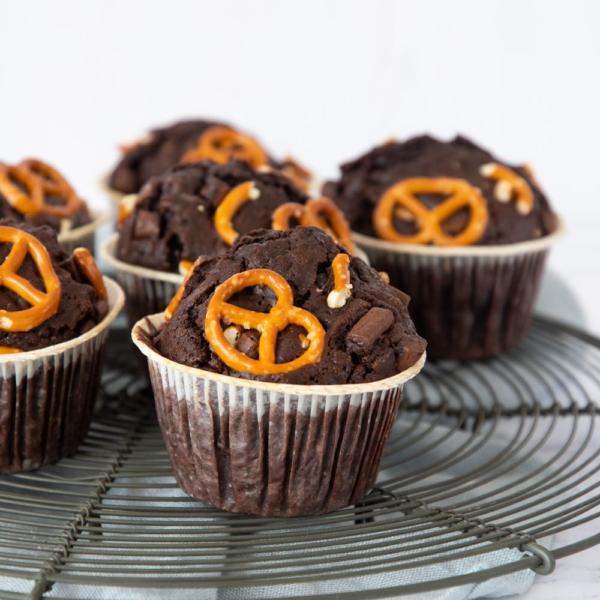 Chocolade-pretzelmuffins