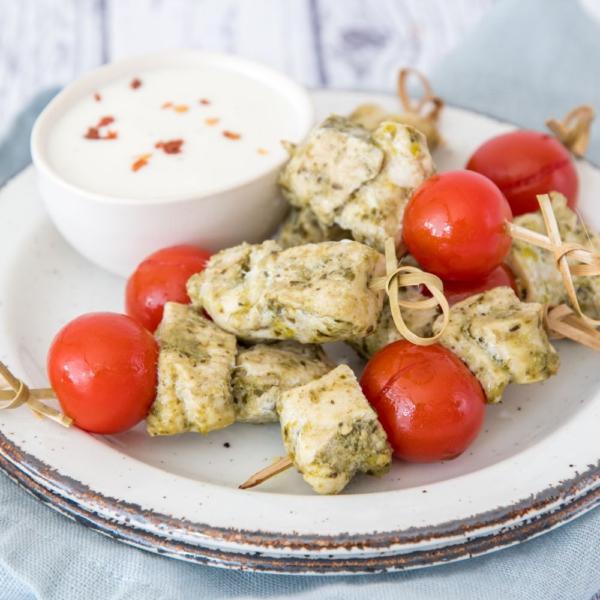 Pesto-tomaat kipspiesjes
