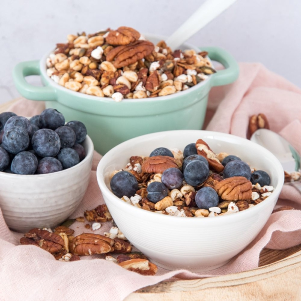 Pecannoten granola met gepofte granen