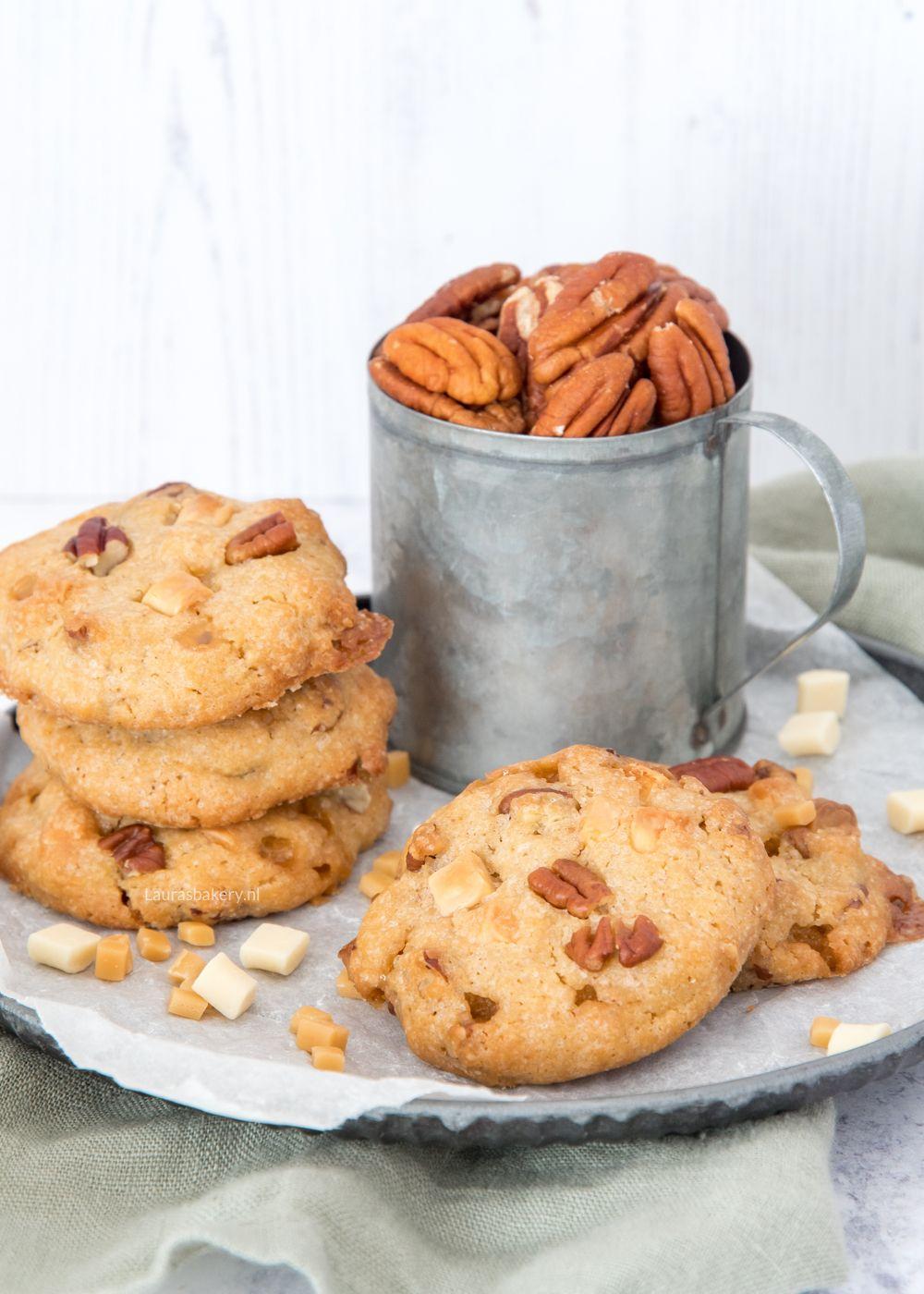 Chocolate chip koeken met pecannoten en karamel