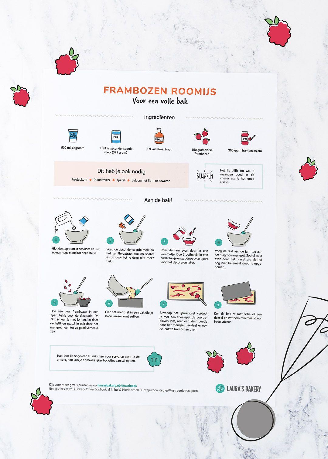 Nieuwe receptprintable: frambozen roomijs