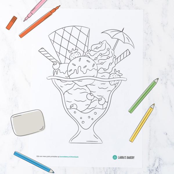 Nieuwe printable: feestelijke ijscoupe kleurplaat