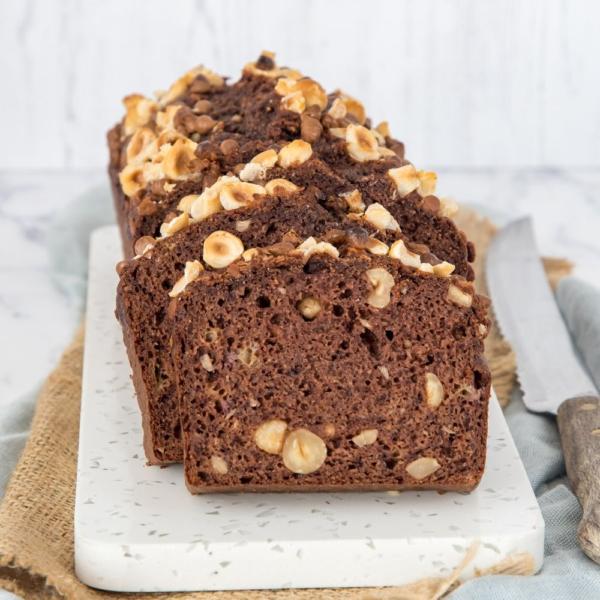 Chocolade-hazelnoot bananenbrood