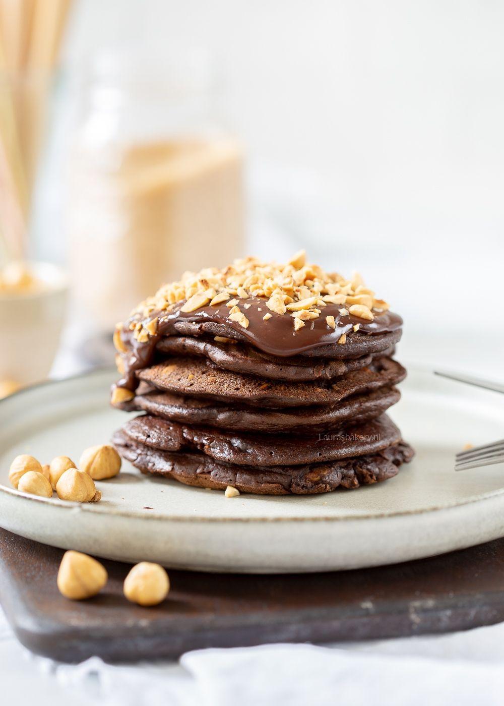 Chocolade-hazelnoot pancakes