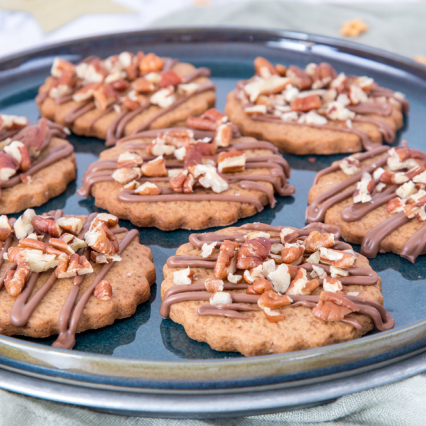 Chocolade-pecan gingerbread koekjes