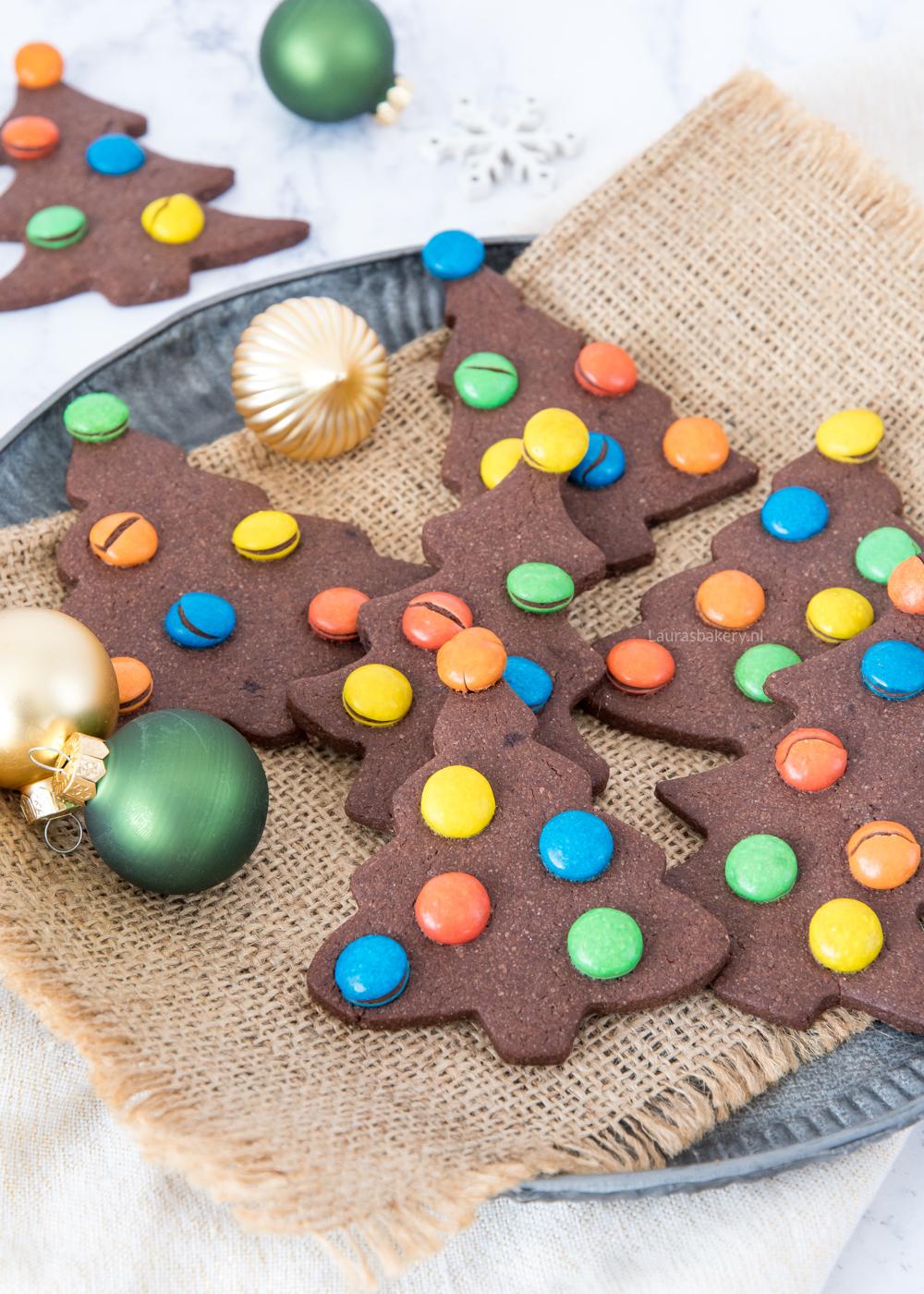 Kerstboom M&M koekjes