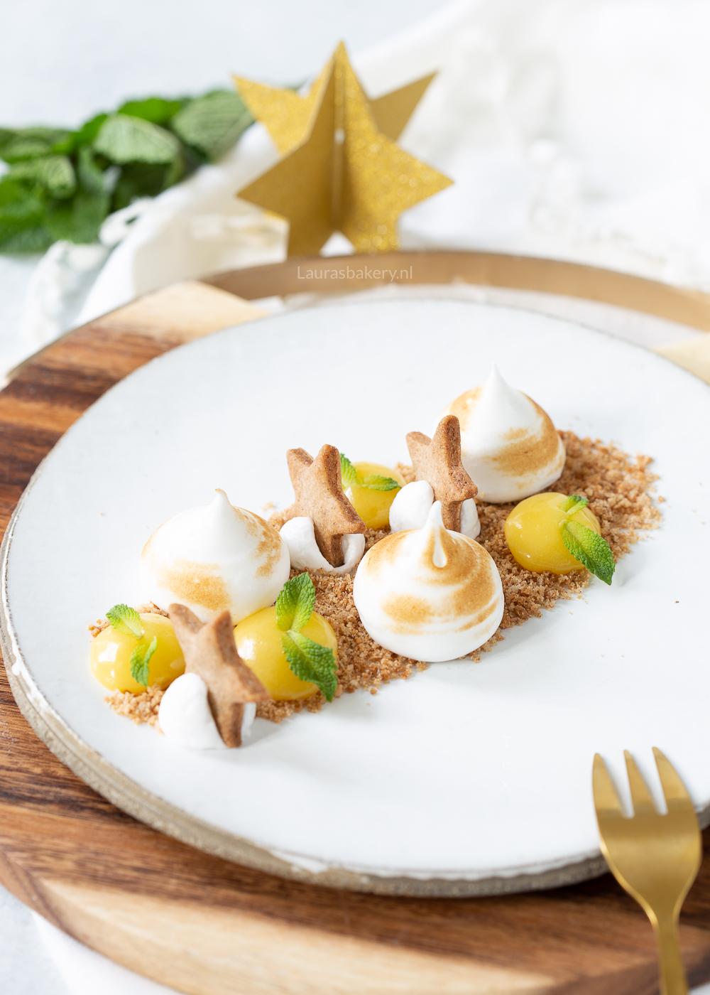 Deconstructed lemon meringue pie dessert
