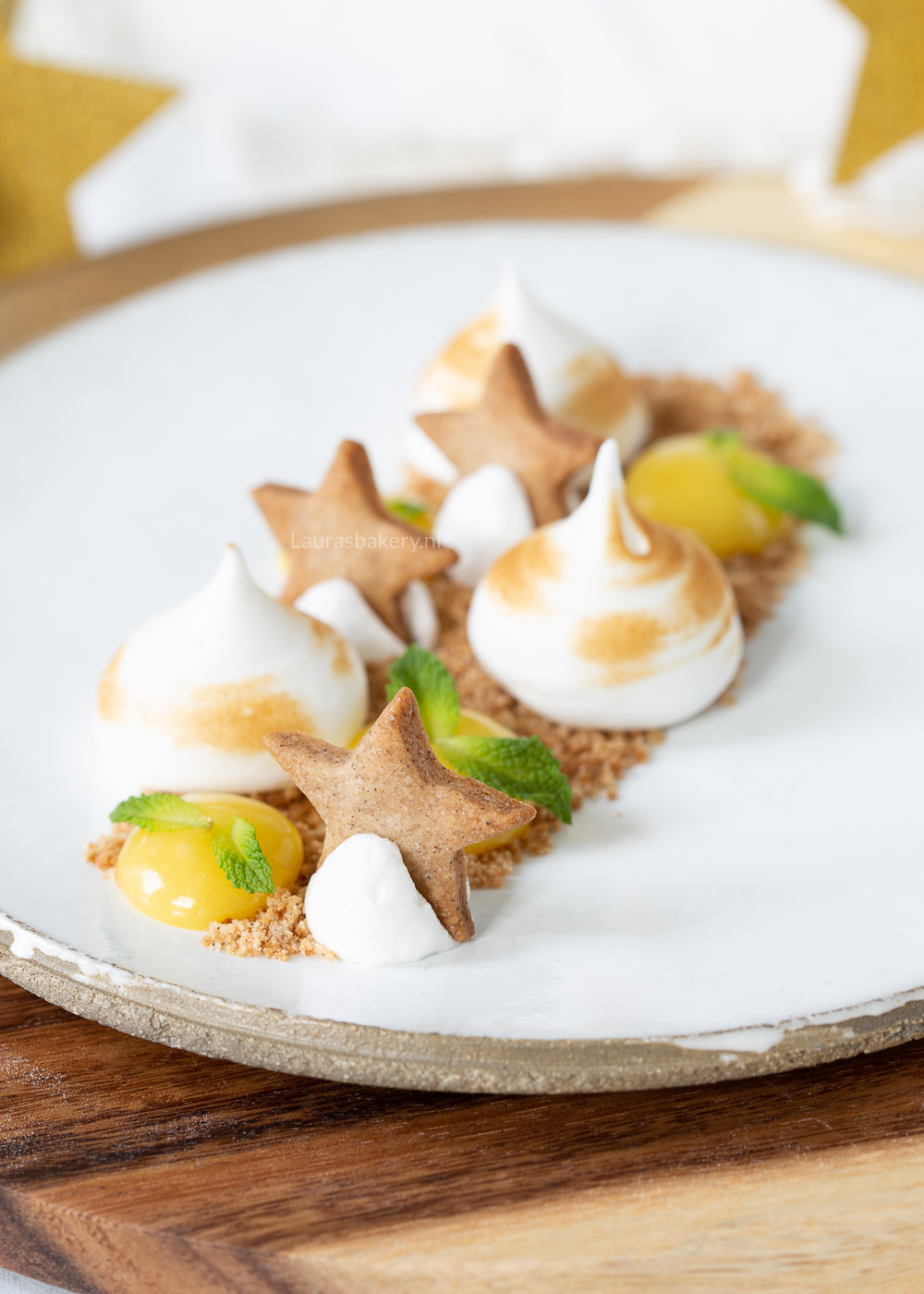 Deconstructed lemon meringue pie dessert