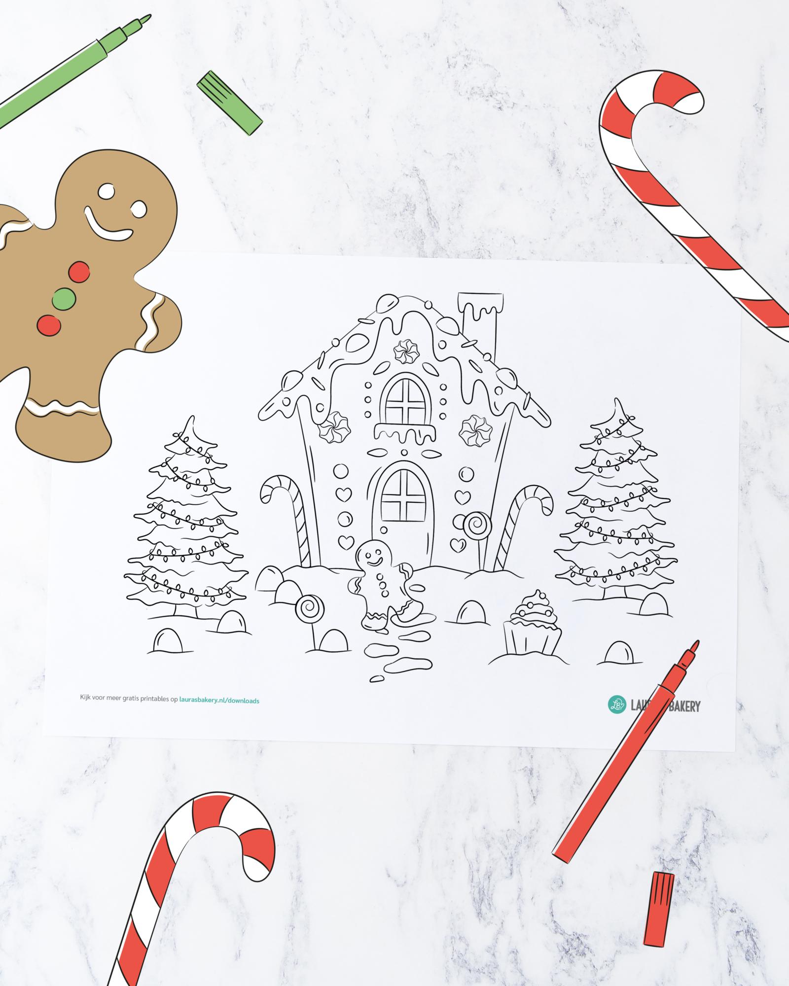 Printable: gingerbread huis kleurplaat