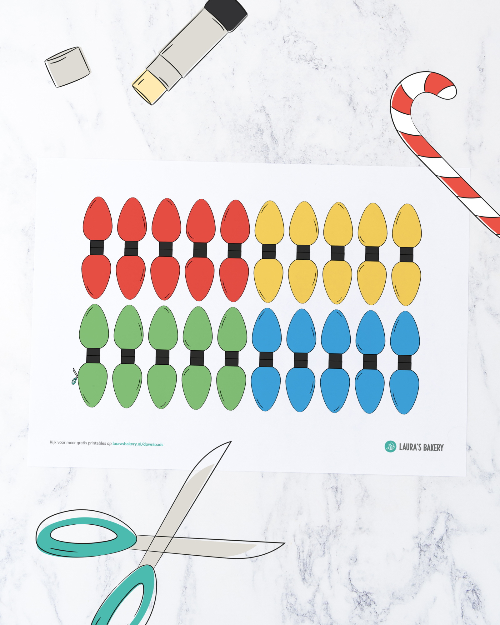 Printable: kerstlampjes vlaggenlijn