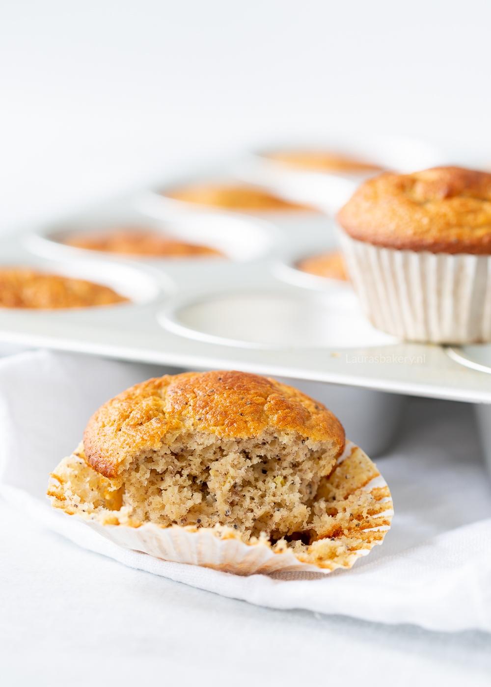 Citroen-maanzaad bananenbrood muffins