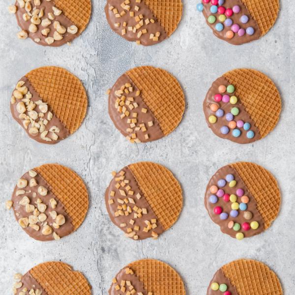 Versierde chocolade stroopwafels