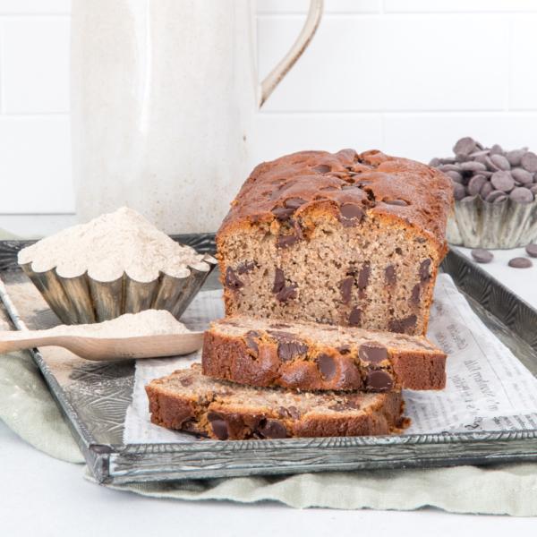 Glutenvrije chocolate chip cake (met bananenmeel)