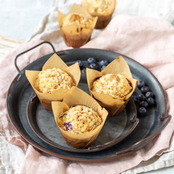 Blauwe bessen kruimelmuffins (blueberry streusel muffins)
