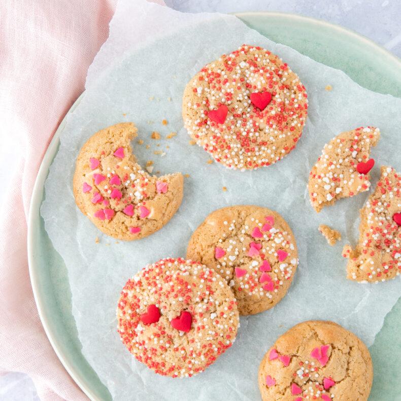 Mini chocolate chip koekjes voor Valentijn